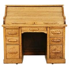 Antique Oak Roll Top Desk, Double Pedestal, American 1910, B2531