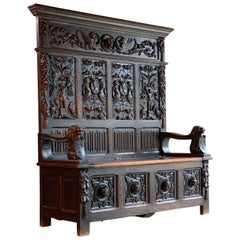 Antique Oak Settle Bench Heavily Carved 19th Century Victorian, circa 1870