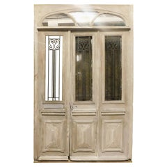 Antique Oak Shop Door, Lacquered White Wood with Glass, 19th Century Italy