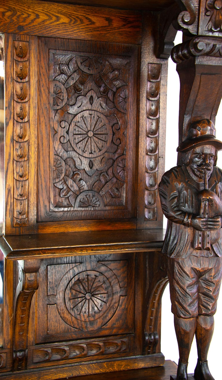 Antique Oak Sideboard, Carved Oak Sideboard, Anglo-Flemish, Scotland 1880, B1498 For Sale 4