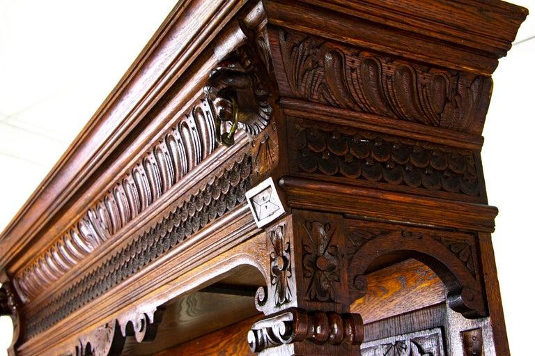 Antique Oak Sideboard, Carved Oak Sideboard, Anglo-Flemish, Scotland 1880, B1498 For Sale 5