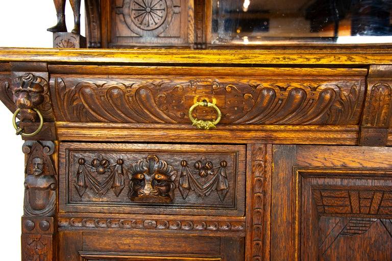 Antique Oak Sideboard, Carved Oak Sideboard, Anglo-Flemish, Scotland 1880, B1498 For Sale 6