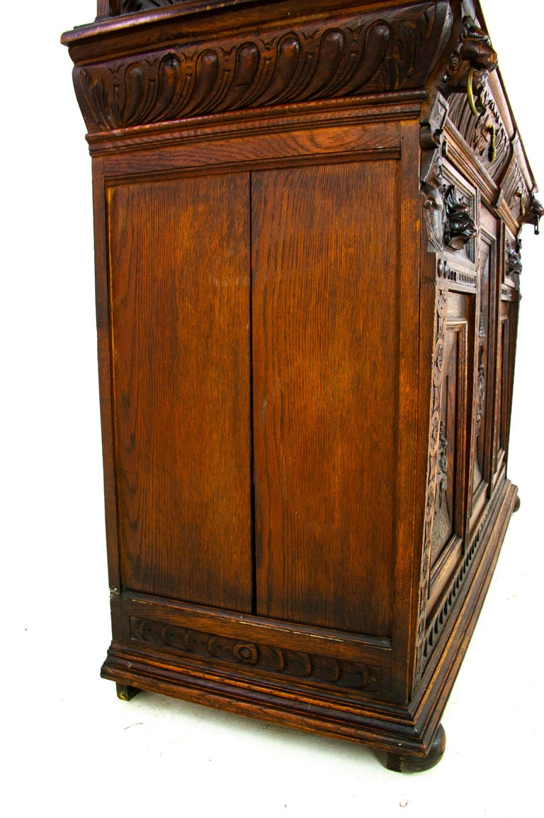 Antique Oak Sideboard, Carved Oak Sideboard, Anglo-Flemish, Scotland 1880, B1498 For Sale 7
