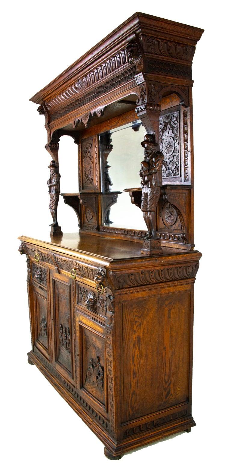 Scottish Antique Oak Sideboard, Carved Oak Sideboard, Anglo-Flemish, Scotland 1880, B1498 For Sale