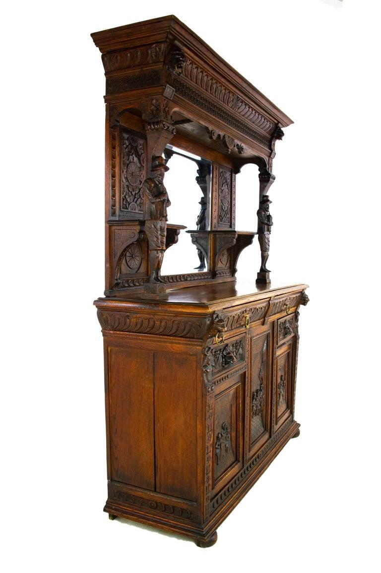 Hand-Carved Antique Oak Sideboard, Carved Oak Sideboard, Anglo-Flemish, Scotland 1880, B1498 For Sale
