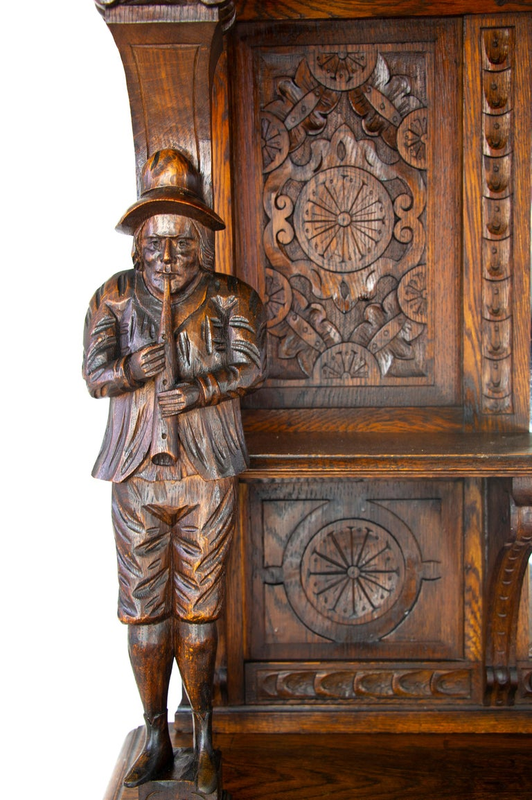 Antique Oak Sideboard, Carved Oak Sideboard, Anglo-Flemish, Scotland 1880, B1498 In Good Condition For Sale In Vancouver, BC