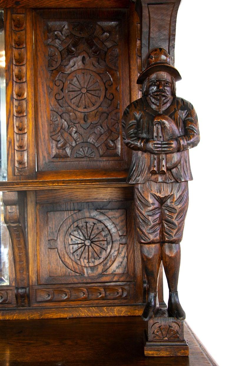 Late 19th Century Antique Oak Sideboard, Carved Oak Sideboard, Anglo-Flemish, Scotland 1880, B1498 For Sale