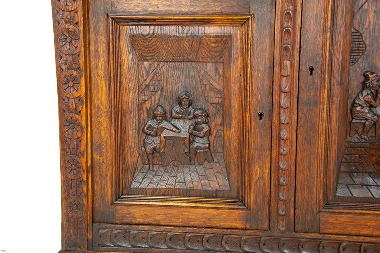 Antique Oak Sideboard, Carved Oak Sideboard, Anglo-Flemish, Scotland 1880, B1498 For Sale 1
