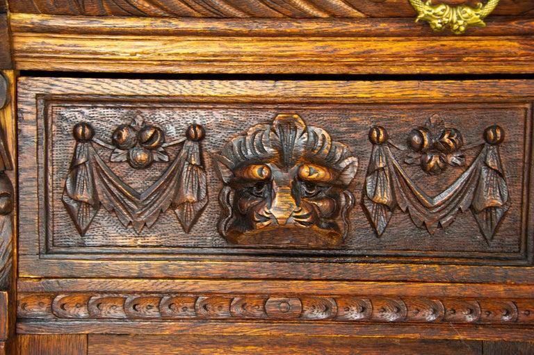 Antique Oak Sideboard, Carved Oak Sideboard, Anglo-Flemish, Scotland 1880, B1498 For Sale 3