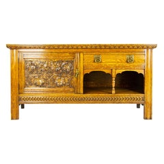 Antique Oak Sideboard, Victorian Tiger Oak Buffet Server, Scotland, 1890, B1425