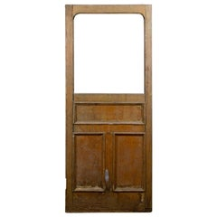 Antique Oak Single Glazed Panel Interior Door, 20th Century