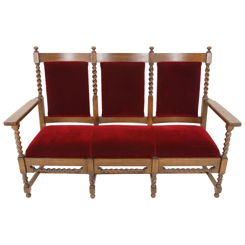 Antique Oak Sofa, Jacobean Style Barley Twist Three-Seat Settee, Chaises, 1890s