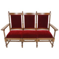 Antique Oak Sofa, Jacobean Style Barley Twist Three-Seat Settee, Chaises, 1890s