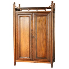 Antique Oak Stick and Ball Hanging Wall Cabinet, circa 1910