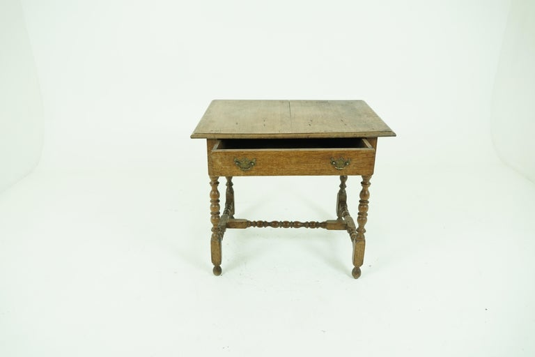 Antique oak table, 18th century Georgian writing table, desk, or hall table, Antique Furniture, Scotland, B1683  Scotland, late 18th century Solid oak construction Original finish Rectangular top with beveled edge Single dovetailed drawer with
