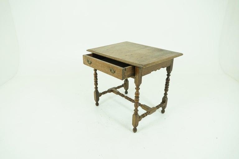 Scottish Antique Oak Table, 18th Century Georgian Desk or Hall Table, Scotland, B1683 For Sale