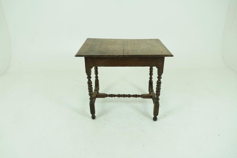 Antique Oak Table, 18th Century Georgian Desk or Hall Table, Scotland, B1683 For Sale 1