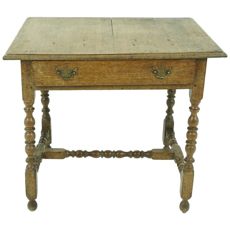 Antique Oak Table, 18th Century Georgian Desk or Hall Table, Scotland, B1683 For Sale