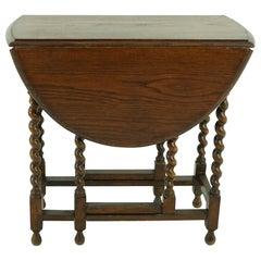 Antique Oak Table, Barley Twist Drop Leaf Gateleg Table, Scotland 1920, B1679