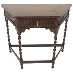 Antique Oak Table, Barley Twist Hall Table with Drawer, Scotland 1920, B1841