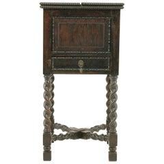 Antique Oak Table, Barley Twist Lift Up Sewing Table, Scotland 1920, B1720