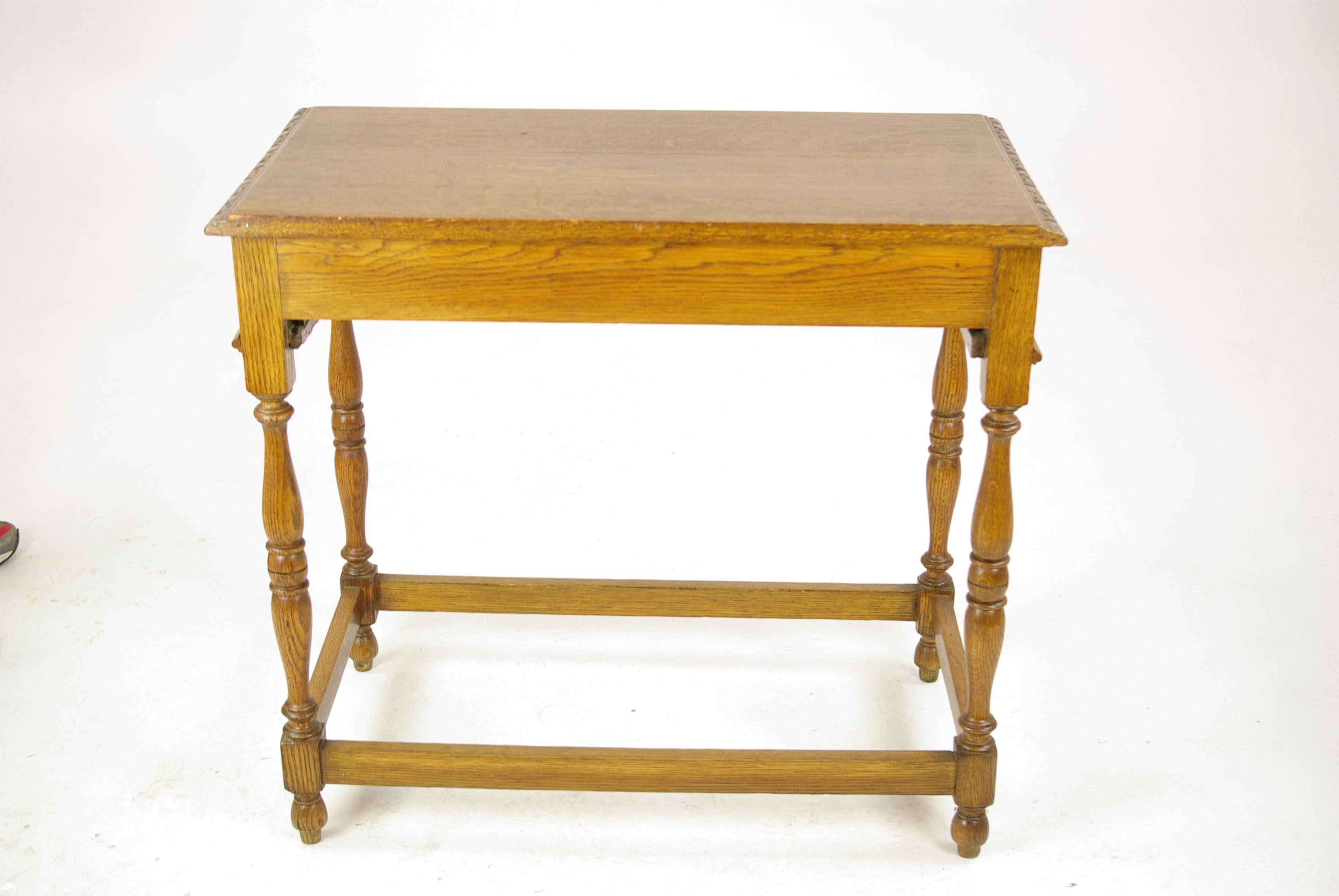 Charmant Antique Oak Table, Carved Tiger Oak Hall Table, Scotland, 1910s For Sale At  1stdibs
