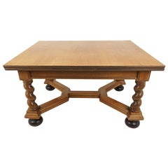 Antique Oak Table, Golden Barley Twist Pull Out, Draw Leaf Table, Belgium, 1910