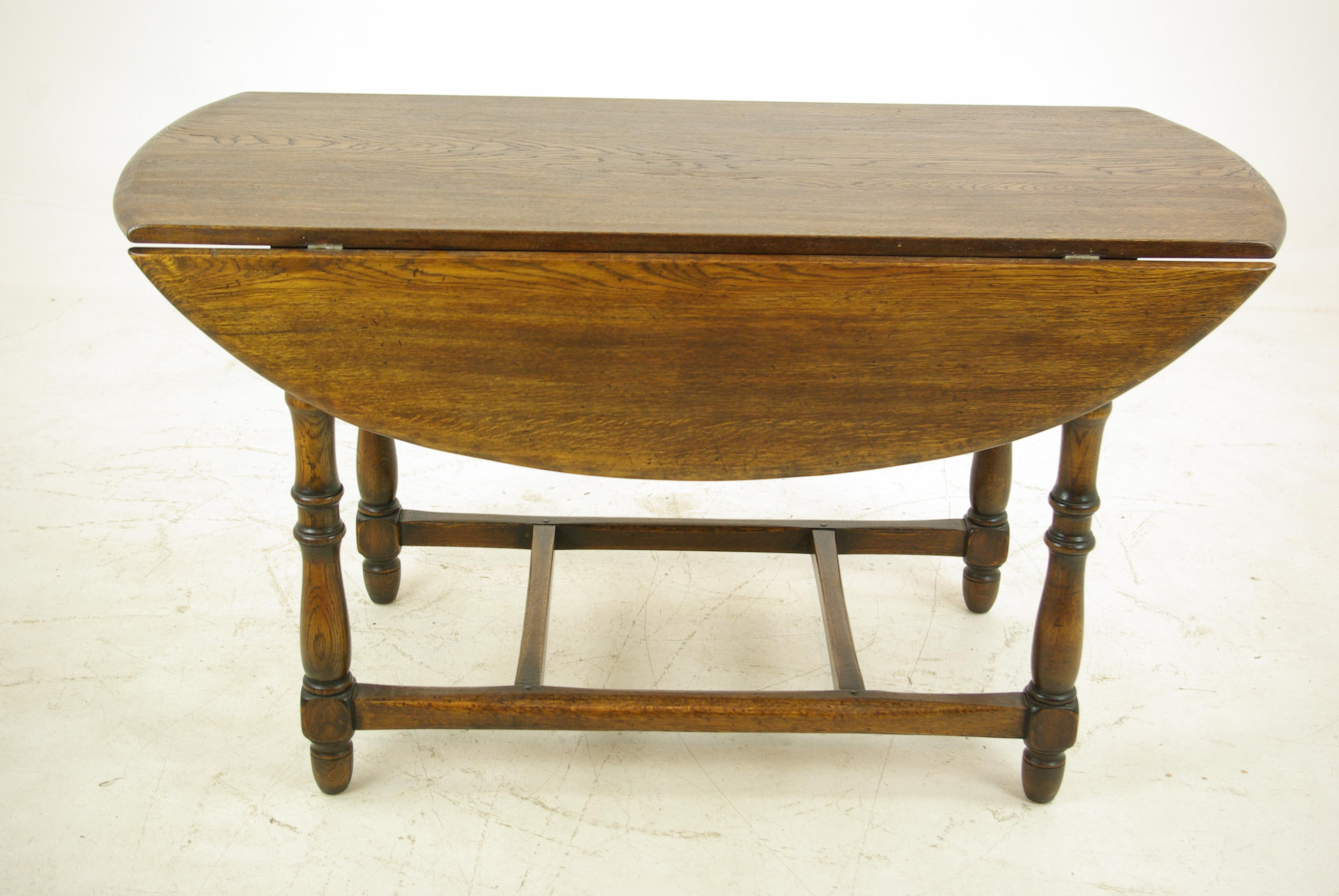 Superbe Antique Oak Table, Oak Kitchen Table, Drop Leaf Table, LaidlerCo.,B1153