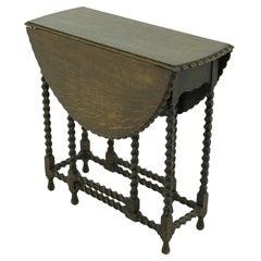Antique Oak Table, Tiger Oak Gateleg Drop Leaf Table, Scotland 1920, B1621