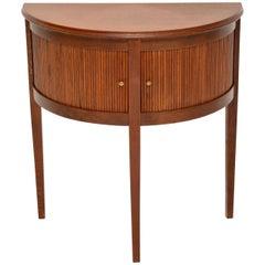 Antique Oak Tambour Front Console Table