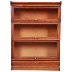 Antique Oak Three-Stack Barrister Bookcase by Macey, circa 1920s