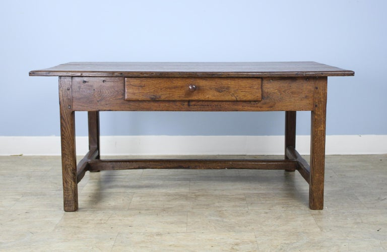 French Antique Oak Trestle Based Coffee Table