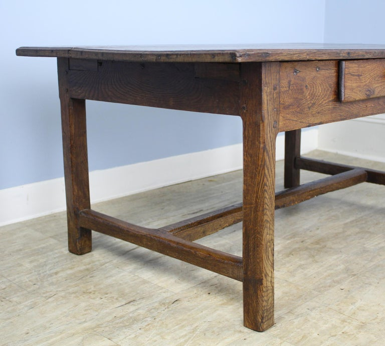 Antique Oak Trestle Based Coffee Table In Good Condition In Port Chester, NY