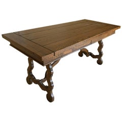 Antique Oak Trestle Style Desk Table