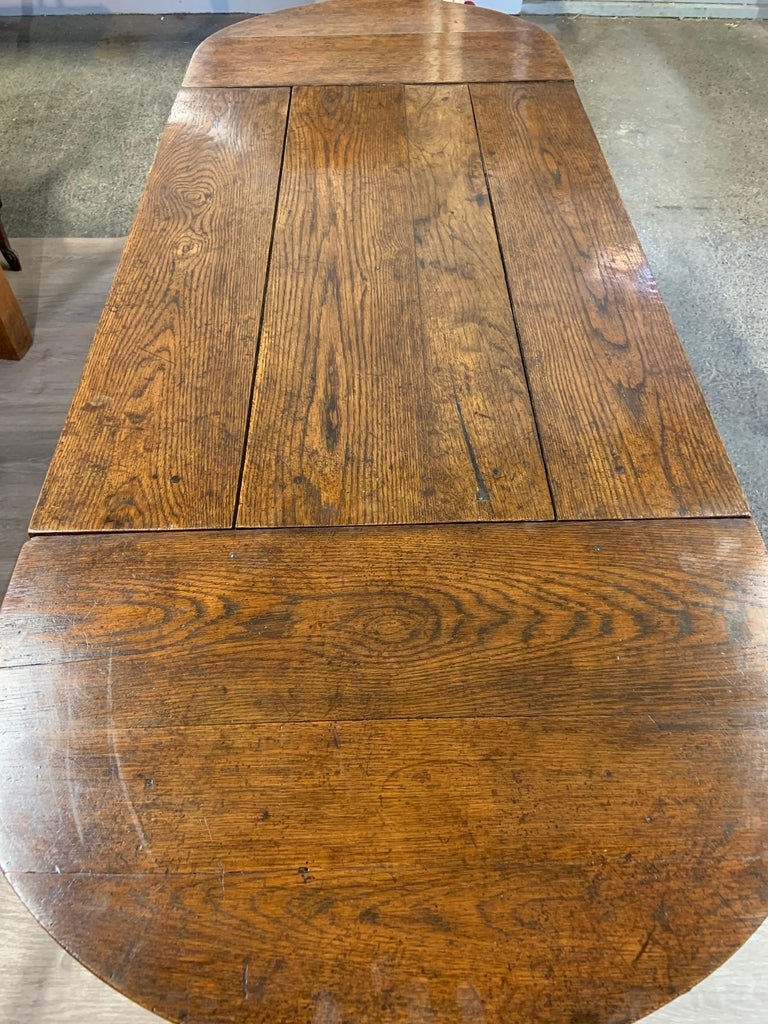 British Antique Oak Trestle Table with Two Half Moon Leaves For Sale