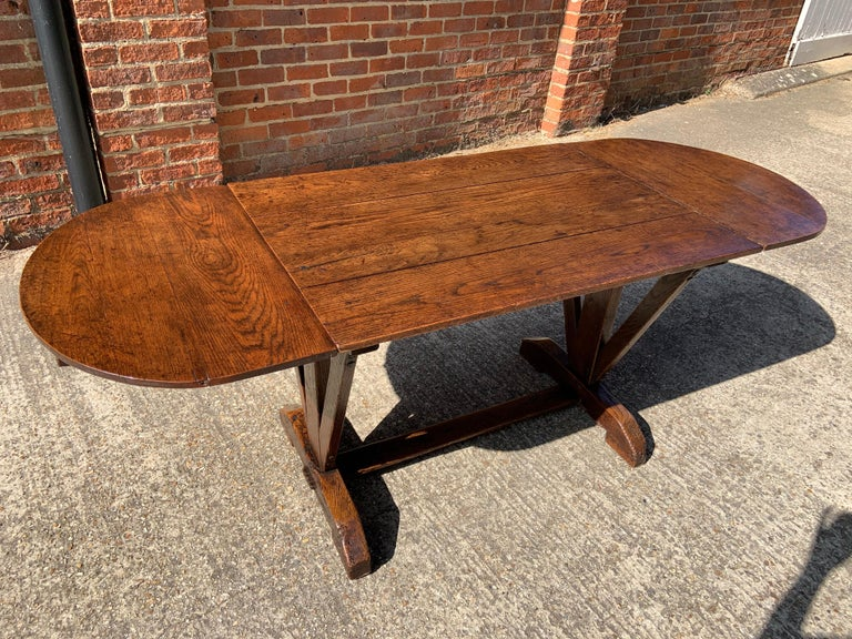 Hand-Crafted Antique Oak Trestle Table with Two Half Moon Leaves For Sale