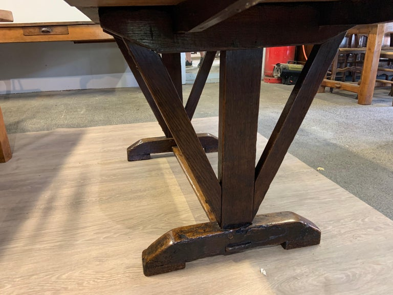 Antique Oak Trestle Table with Two Half Moon Leaves In Good Condition For Sale In Billingshurst, GB