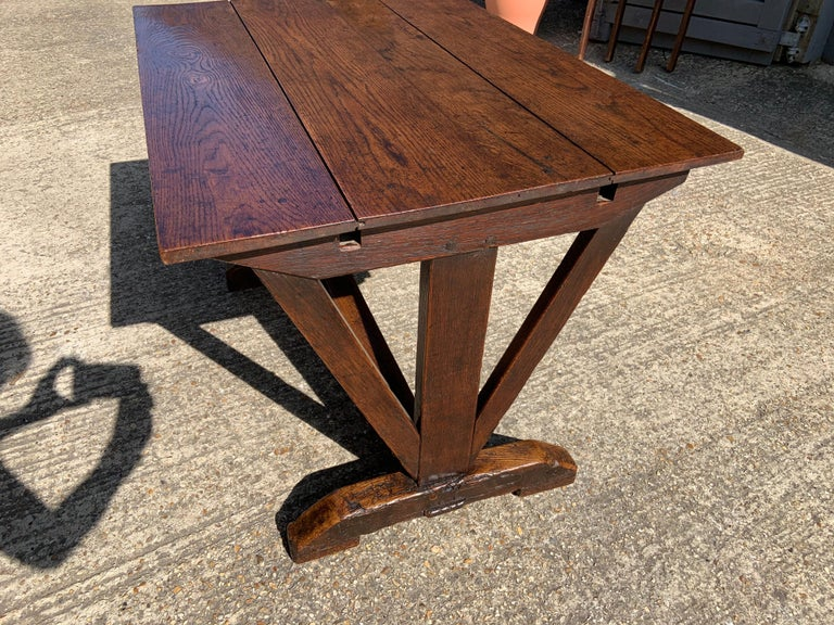 19th Century Antique Oak Trestle Table with Two Half Moon Leaves For Sale