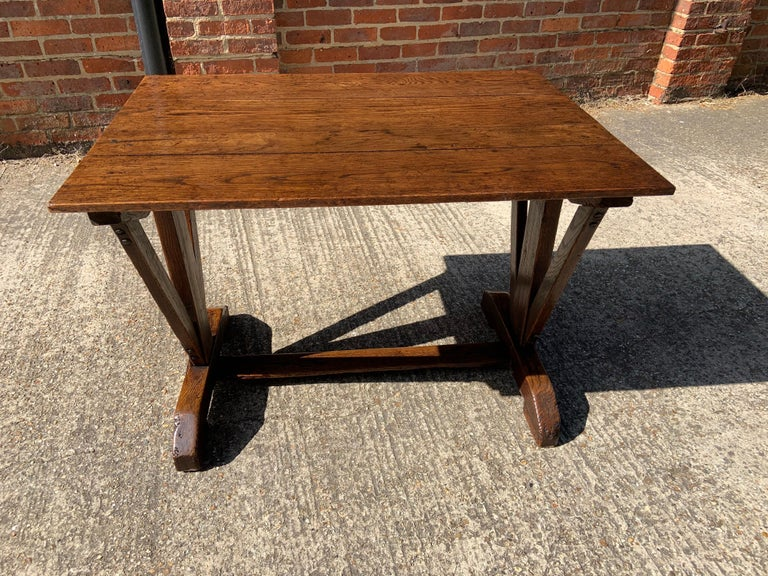 Antique Oak Trestle Table with Two Half Moon Leaves For Sale 1