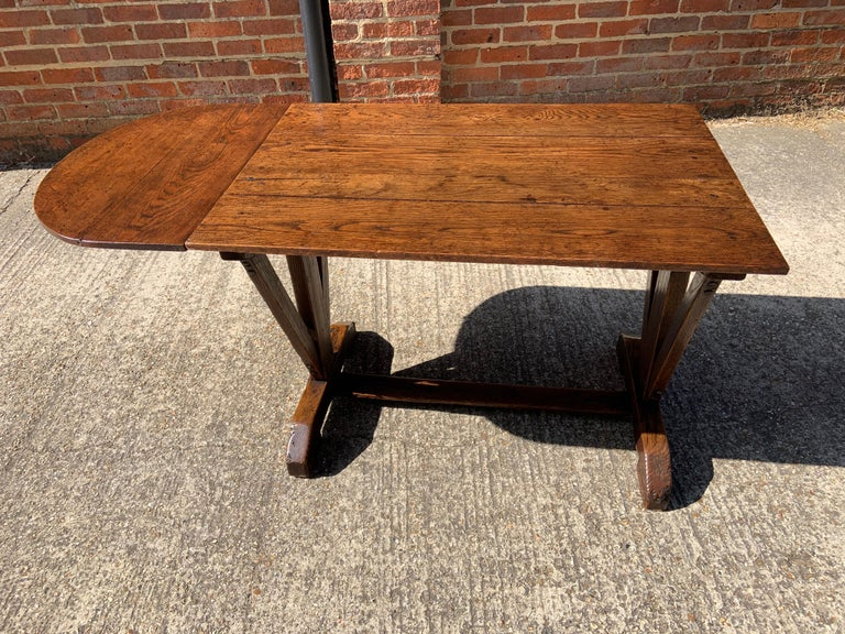 Antique Oak Trestle Table with Two Half Moon Leaves For Sale 2