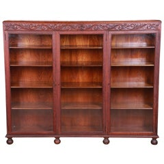 Antique Oak Triple Bookcase with Old Man of the North Carving, circa 1900