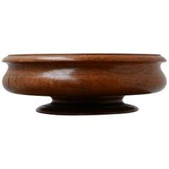 Antique Oak Turned Wooden Bowl