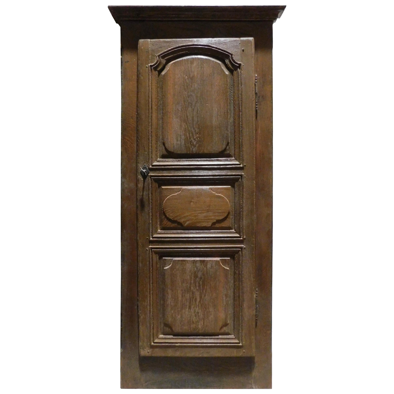 Antique Oak Wall Placard, Built-In Wardrobe, Cupboard, Italy '700