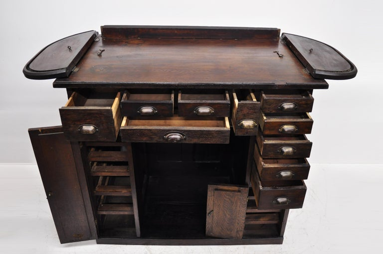 Antique Oak Watchmakers Jewelers Work Bench With Roll Top