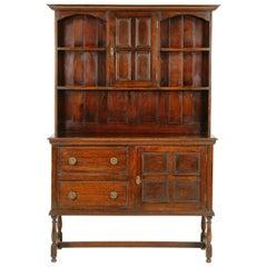 Antique Oak Welsh Dresser / Plate Back, Scotland, 1920, B1676