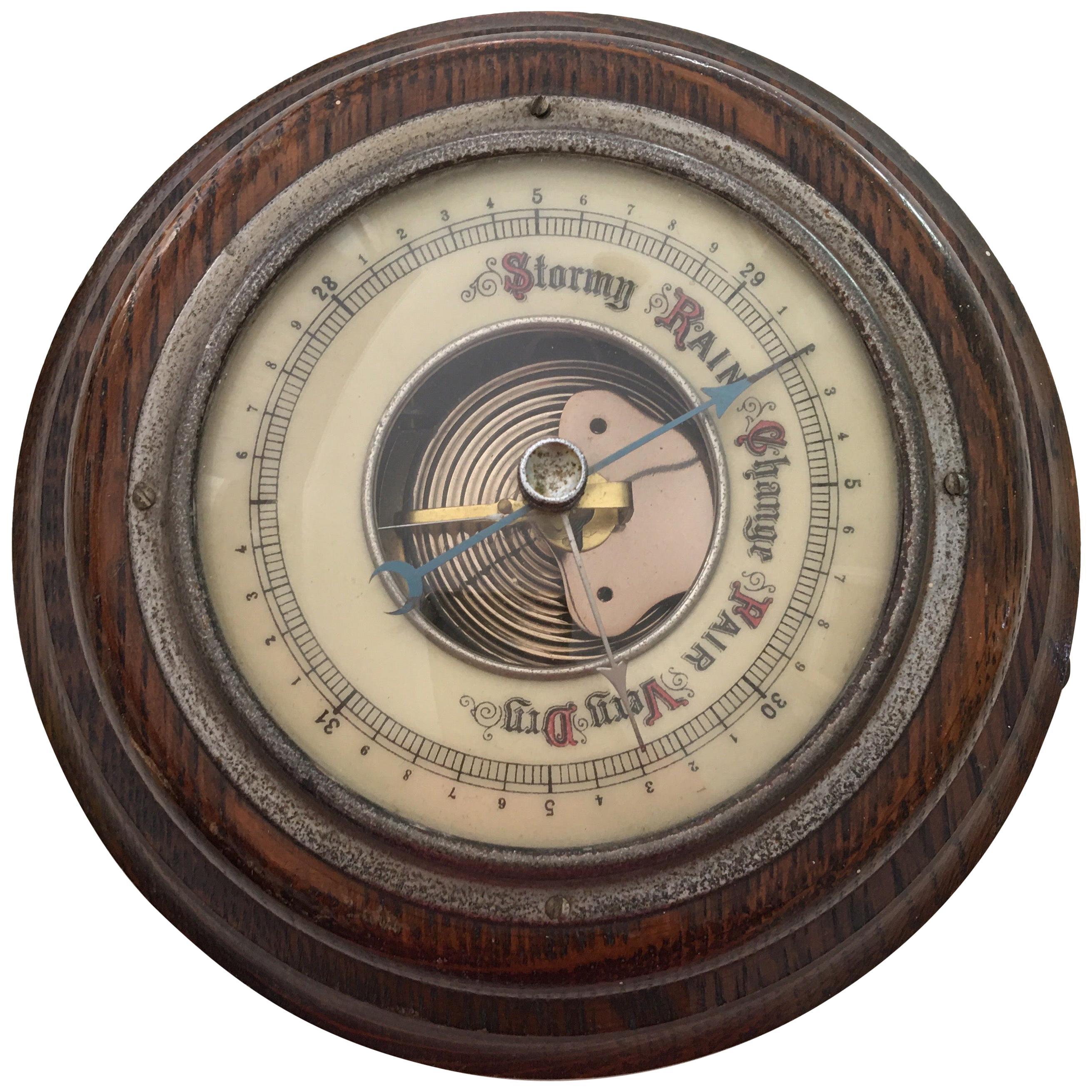 Antique Oakwood Wall Barometer