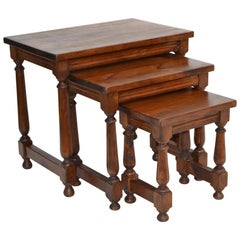 Antique Oakwood Set of 3 Nesting Tables Turned Legs, Stacking Tables, France