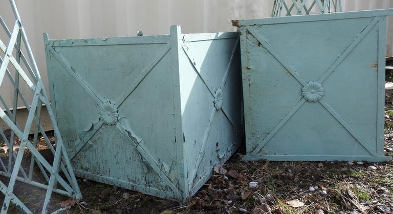 French Antique Obelisk Planters with Turquoise Paint For Sale