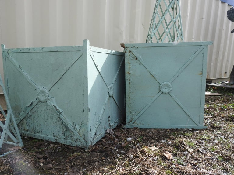 Metalwork Antique Obelisk Planters with Turquoise Paint For Sale