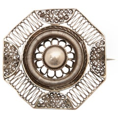 Antique Octagon Silver Cannetille Filigree Brooch
